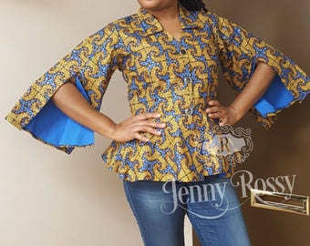 African clothing Top, African print peplum top, Ankara split sleves top,Gold Ankara blouse