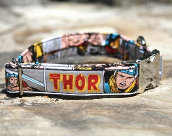 Thor Collar | Dog Collar | Male Dog Collar | Marvel | Superheroes | Metal Buckle | Large Dog Collar | Small Dog Collar | Gift for Pet Lovers