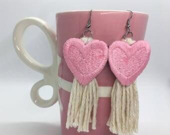 Pink Heart Tassel Earrings, Tassel Earrings, Pink Heart Earrings, Valentine's Day Earrings, Valentine's Day Gift, Galentine's Day