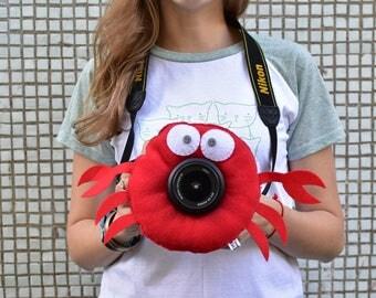 Sea crab lens critter, camera buddies, camera lens buddy, toys, photographer helper.Camera Accessories,photo helper,funny face buddy