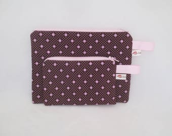 Handbag or pouch + wallet Brown and pink