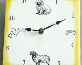 "Ceramic tile Clumber Spaniel dog clock, 6"" square, yellow border"