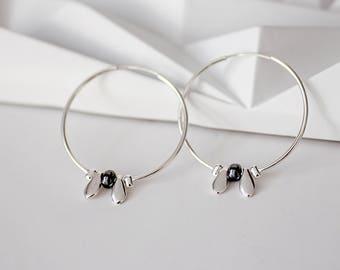 Medium hoop earrings, 925 Sterling silver hoop earrings, sterling silver hoops, festival earrings, minimalist earrings, gift for wife