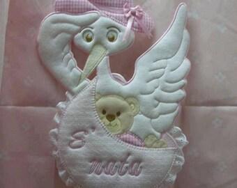 Fiocco Nascita bimba, Fuoriporta ospedale personalizzato con nome, Annuncio per casa dei nonni, ufficio del papà, Cicogna bianca e rosa