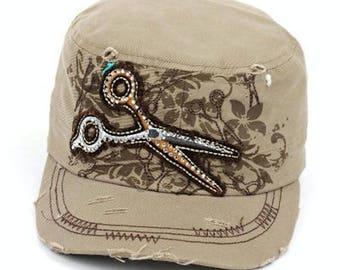 Scissor Hair Stylist Hat Khaki color Embroidery 100% Cotton Cadet Hat Rhinestone