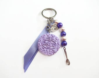 Purple polymer clay cookie keychain