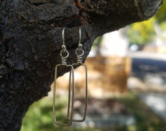 Open Rectangle Drop Earrings