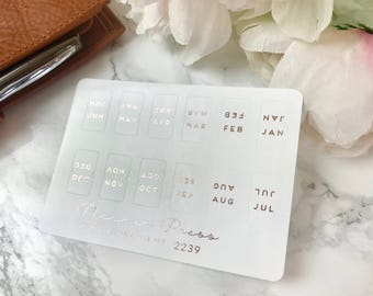 Rose Gold Foiled Monthly Tab Stickers - Fits Erin Condren, KikkiK, Filofax Planners and Midori Notebooks 2239