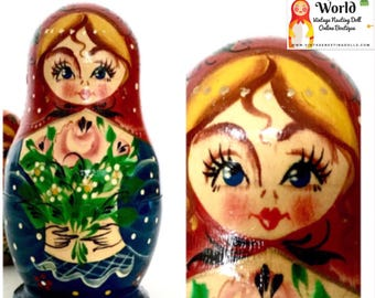 Vintage Nesting Doll. Beautiful Floral & Gold Accent Russian Doll, Matryoshka Dolls from 1990's. Set of three.