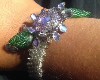 Crystal flower lattice work seed bead bracelet with pips