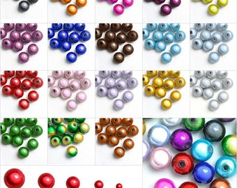 10/20/40/80/120pcs Acrylic 3D Illusion Miracle Beads Round Spacer Craft Jewelry Making Bracelet Necklace 4/6/8/10/12mm, 18 Colors, V-ARSET12