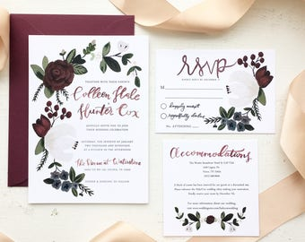 Burgundy and Navy Floral & Berries Wedding Invitation