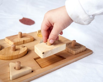 Wooden Puzzle / Toddler Puzzle / Baby Puzzle with knobs/ Montessori Jigsaw Puzzle / Educational Puzzle Toy/ Toddlers Development Wood Toy