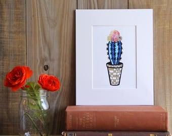Blue Frida Cactus Print, Cactus, Succulents, Plants, Frida, Frida Kahlo, Blue Cactus, Art Print