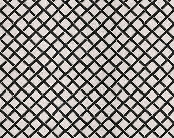 DESIGNER FRETWORK PRINT Cotton  Fabric 10 Yards Black White
