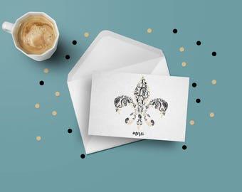 Pack of 20 Fleur de Lis Greeting Card - Black & Gold - Merci