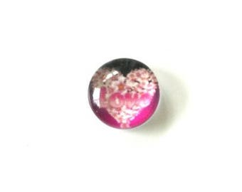 """Round glass cabochon 10mm illustrated heart inscription """"love"""""""