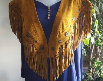 Women's Suede Fringed Vests  Shawl - Native Inspired -