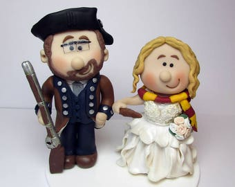 Harry Potter and Soldier themed Wedding cake topper, Personalised bride and groom Cake topper, custom wedding,