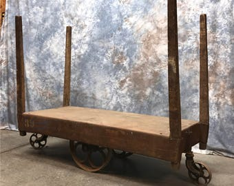 Factory Cart Industrial Age Metal Top Wheels Coffee Table Vintage Kitchen  Island