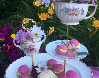 Mad Hatter Tea, Marie Antoinette Party, Staffordshire, Three Tier, High Tea, Vintage China Server, 3 tier cake stand, Pink Rose Plates