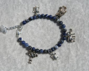 """Sodalite bracelet with charms """"lucky"""""""
