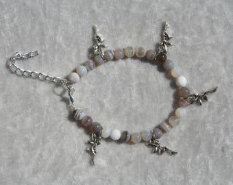 Agate with fairy charm bracelet