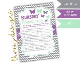Butterfly Baby Shower Nursery Rhyme Game - INSTANT DOWNLOAD - Gray, Lavender and Mint - Digital File - J005
