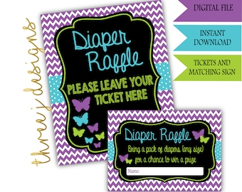 Butterfly Baby Shower Diaper Raffle Tickets and Sign - INSTANT DOWNLOAD - Purple and Teal - Digital File - J006