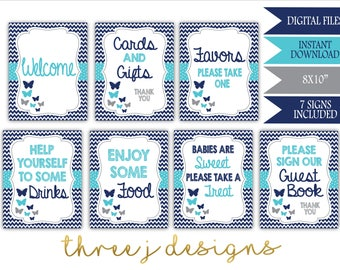 Butterfly Baby Shower Table Sign Package - Bundle of 7 Signs - INSTANT DOWNLOAD - Navy Blue, Teal and Gray - Digital Files - J007