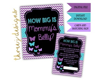 Butterfly Baby Shower How Big Is Mommy's Belly Game Cards and Sign - INSTANT DOWNLOAD - Purple and Teal - Digital File - J001