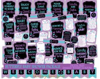 Butterfly Baby Shower Digital Package - HUGE BUNDLE DEAL - Purple and Teal - Digital File - J001