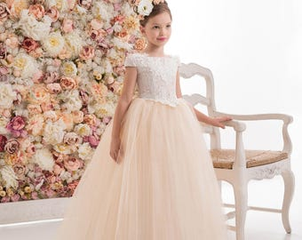Ivory Cream Flower Girl Dress -- Ivory Cream Floor Length Tulle Dress