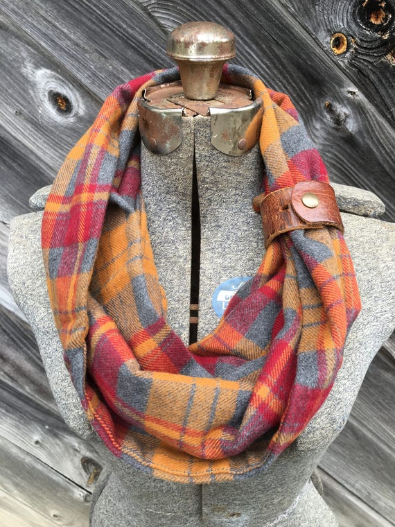 Gray, orange and red plaid check flannel eternity scarf with a brown leather cuff - soft, trendy