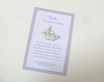 Custom baptism or birth sailboat boat origami - blue for boy handmade