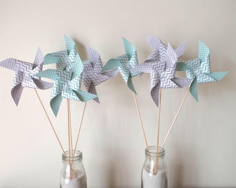 8 spikes windmills with dots and Mint green and gray chevron - party table decoration, candy bar, birthday