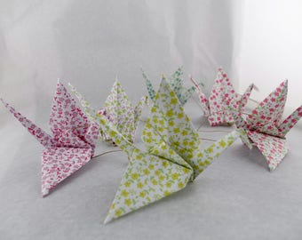 Vertical Garland 6 cranes liberty origami - green lilac pink - baby girl's room wall decor