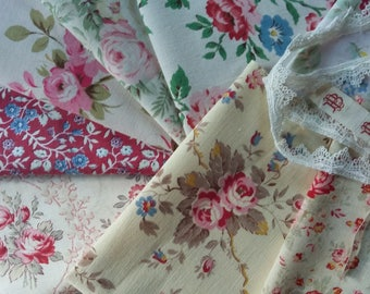 Vintage French Fabric Inspiration Bundle~1940's ~Old Roses & Lace ~suitable for patchwork, craft or other small projects.