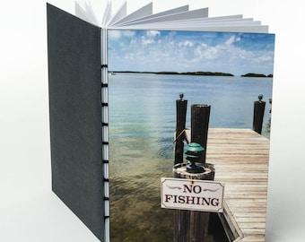 NO FISHING | small handmade coptic bound blank book diary journal notebook original cover photo | aBoBoBook