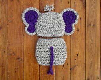 Gray Baby Elephant Outfit Crochet Elephant Newborn Outfit Baby Elephant Photo Outfit Elephant Crochet Elephant Newborn Gray Baby Elephant