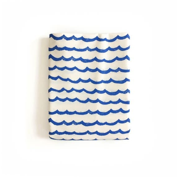 Changing Pad Cover - KUJIRA Waves in Cobalt - MADE-to-ORDER - neutral ocean changing pad, travel changing pad, travel theme nursery, blue