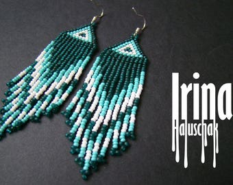 Emerald and turquoise beaded earrings Seed bead earrings Fringe earrings Dangle earrings Boho earrings Native american earrings Native style