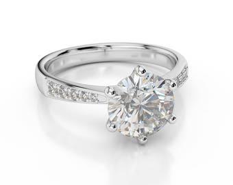 2/3 Carat F SI1 Natural Diamond Engagement Ring Round Cut 14K White Gold