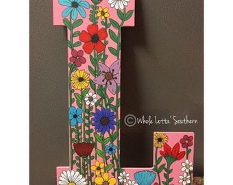 Wildflowers Wood letter L doorhanger
