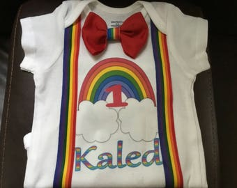 Little  boys handmade rainbow baby birthday shirt