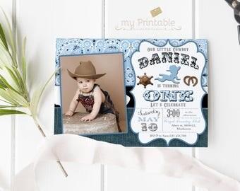 Cowboy First Birthday Invitation / Digital Printable Birthday Invite for Kids / first birthday western Party / DIY 1st birthday