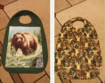 Teenager/adult clothes protector bibs, bear, cat, turtle, minion, horse, eagle, frog, fishing, wolves.