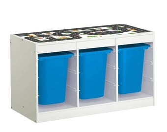 "Play table for your kids room: Furniture sticker ""Small City"" for IKEA TROFAST (1M-ST01-06) - Furniture not included"