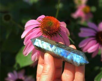 "4.25"" Beautiful Blue flash Labradorite wand"