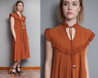 Vintage 1970's I Brown I Folk I Tent Dress I Boho I Hippie I Tie Collar I S